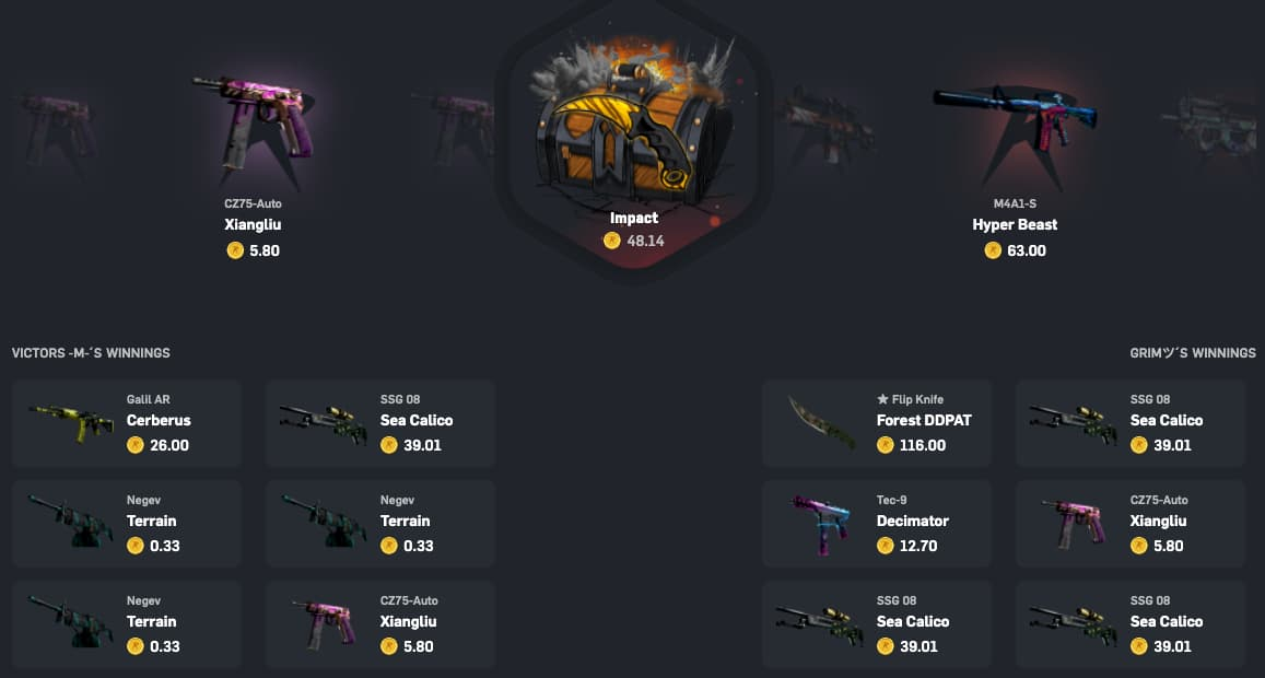 CSGO battle for skins with jackpot on CSGOroll