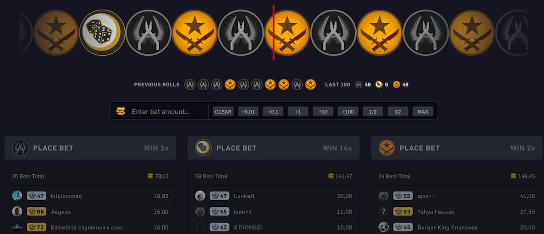 CSGO roulette gameplay screenshot on csgoempire