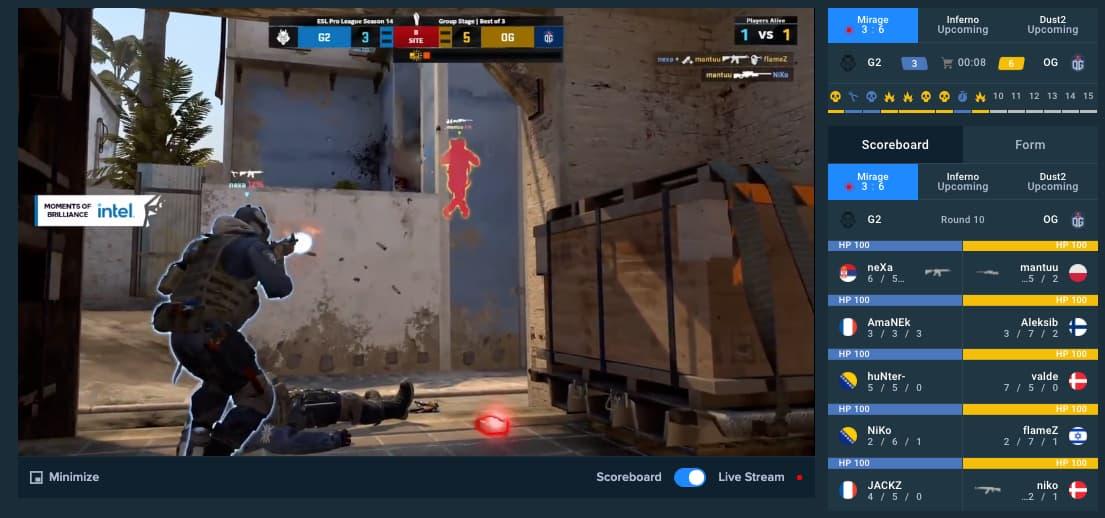 CSGO streaming on Stake
