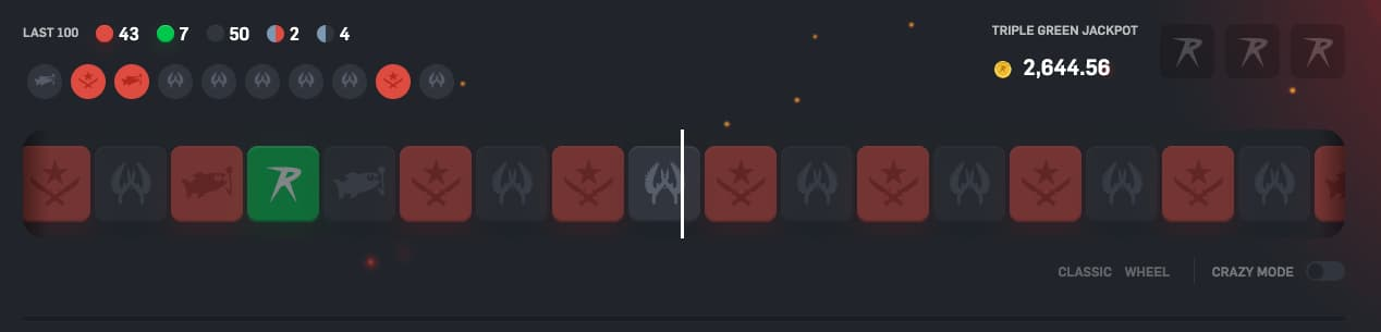 Roulette game on CSGORoll