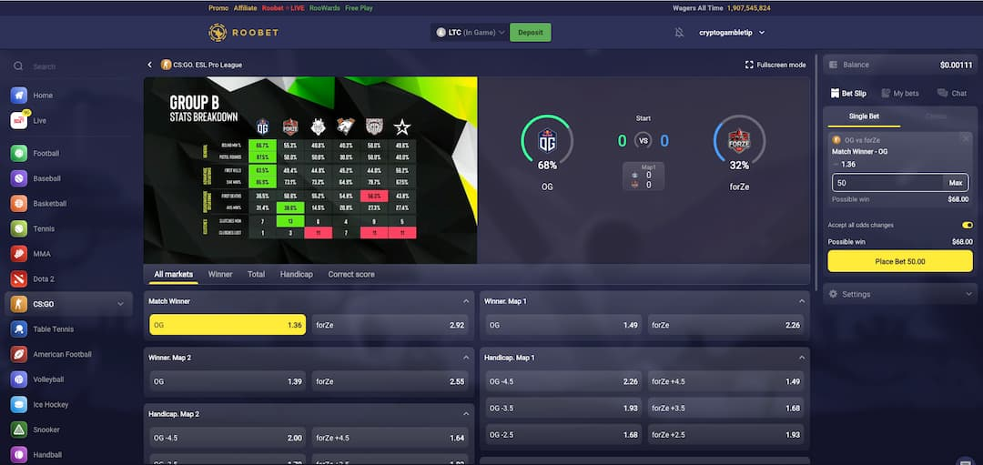 Esports and sportsbook at Roobet