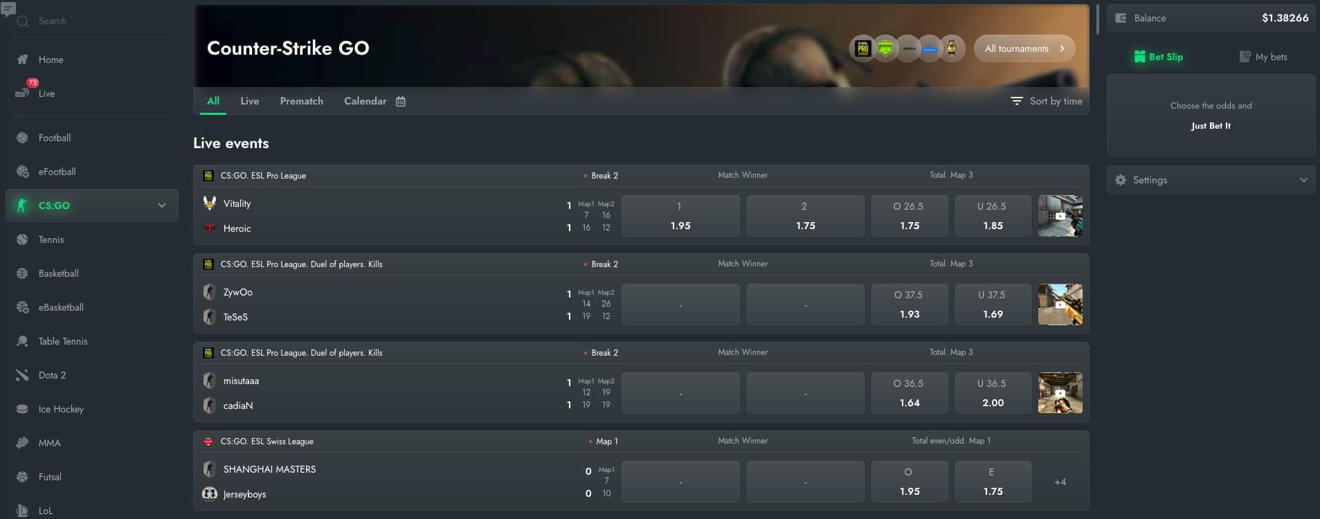 Esports betting gamdom