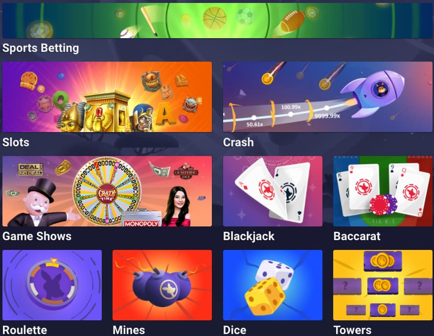 Homepage of Roobet with game offering