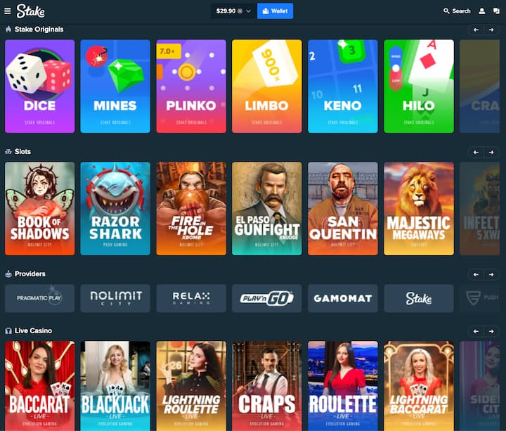 lobby games of stake casino